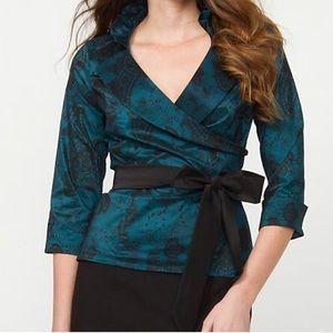 NWT Taffeta Paisley Print Wrap Blouse 3/4 Sleeves